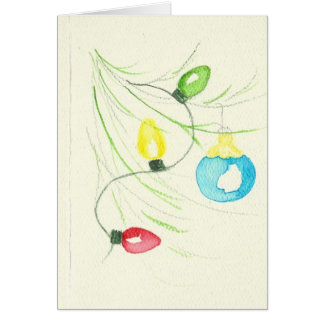 Oranaments and Lights on tree Card