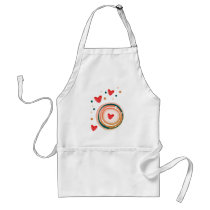 orane and red, heart cute love adult apron
