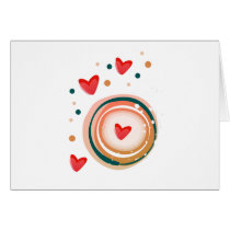 orane and red, heart cute love card