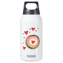orane and red, heart cute love insulated water bottle
