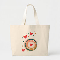 orane and red, heart cute love large tote bag