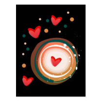 orane and red, heart cute love postcard