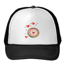 orane and red, heart cute love trucker hat