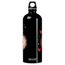 orane and red, heart cute love water bottle