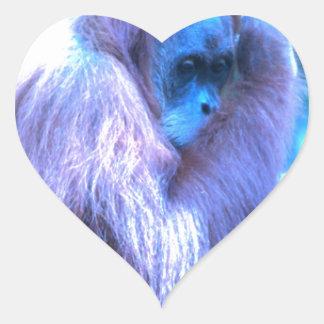 Orang Utan, azul púrpura Pegatina En Forma De Corazón