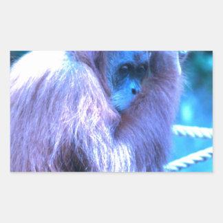 Orang Utan, azul púrpura Pegatina Rectangular