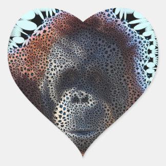 Orang Utan, flores enrrolladas (c) Pegatina En Forma De Corazón