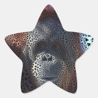 Orang Utan, flores enrrolladas (c) Pegatina En Forma De Estrella