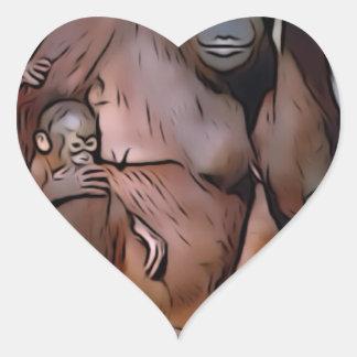 Orang Utan, mamá y bebé Pegatina En Forma De Corazón
