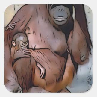 Orang Utan, mamá y bebé Pegatina Cuadrada