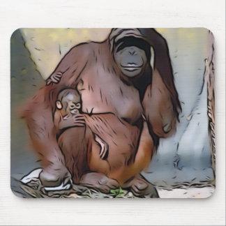Orang Utan,Mom and baby Mousepad