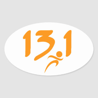 Orange 13.1 half-marathon oval sticker