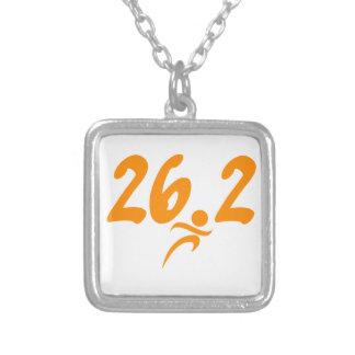 Orange 26.2 marathon silver plated necklace