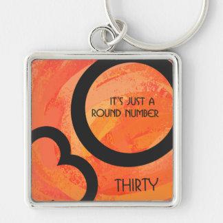 Orange 30 Decade Birthdday Keychain