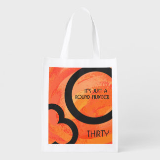 Orange 30 Decade Birthdday Reusable Grocery Bag