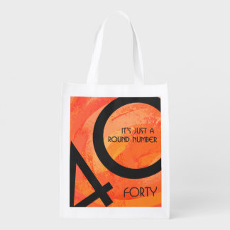 Orange 40 Decade Birthday Reusable Grocery Bags