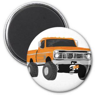 Orange 4x4 Mud Truck 2 Inch Round Magnet