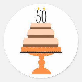 Orange 50th Birthday Cake Stickers