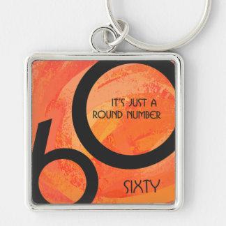 Orange 60 Decade Birthday Keychain