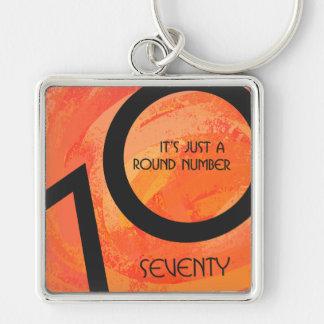 Orange 70 Decade Birthday Keychain