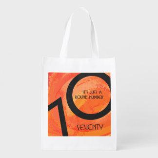 Orange 70 Decade Birthday Reusable Grocery Bags