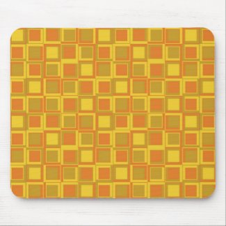 Orange 70's year styling squares mouse pad