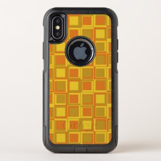 Orange 70's year styling squares OtterBox commuter iPhone x case