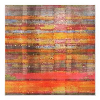 """Orange Abstract Art Invitation Card 5.25"""" Square Invitation Card"""