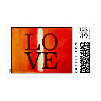 Orange Abstract Background Love Wedding Stamp