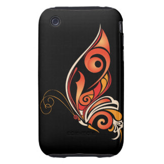 Orange Abstract Butterfly Tough iPhone 3 Case