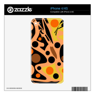 Orange abstract decor skins for iPhone 4S
