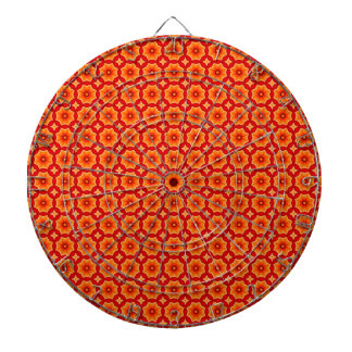 Orange Abstract Decorative Floral Pattern Dart Board
