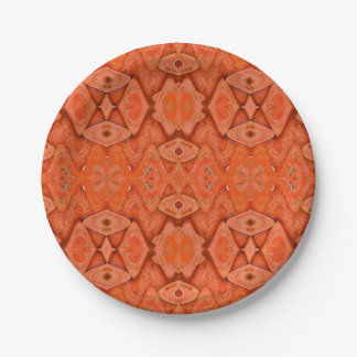 Orange abstract design paper plate