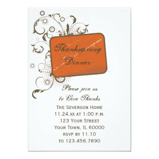 Orange Abstract Floral Thanksgiving Dinner Invite