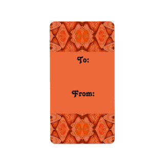 orange abstract gift tags personalized address label