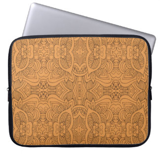 Orange  Abstract Line Art Computer Sleeve