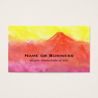 Orange Abstract Mountain Volcano Landscape Business Card