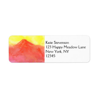Orange Abstract Mountain Volcano Landscape Label