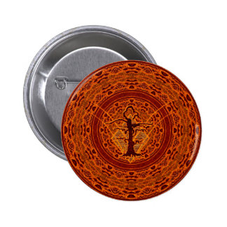 Orange Abstract Old Withered Tree 2 Inch Round Button