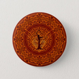 Orange Abstract Old Withered Tree Pinback Button