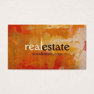 Orange Abstract Pattern Real Estate Business Card