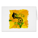 Orange Abstract Surfer Greeting Card