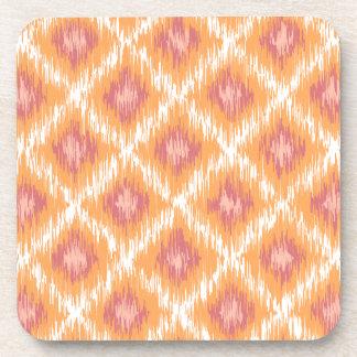 Orange Abstract Tribal Ikat Chevron Diamond Pattrn Drink Coaster