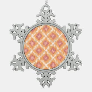 Orange Abstract Tribal Ikat Chevron Diamond Pattrn Ornaments