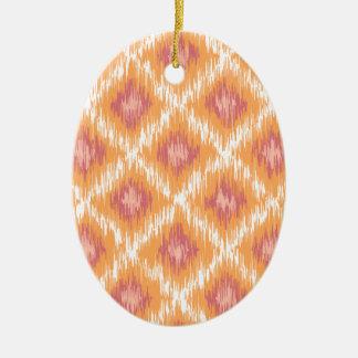 Orange Abstract Tribal Ikat Chevron Diamond Pattrn Christmas Ornaments