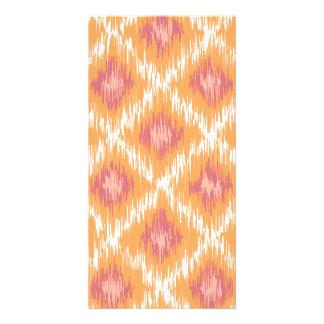 Orange Abstract Tribal Ikat Chevron Diamond Pattrn Custom Photo Card