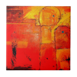 Orange Abstract  Unique Painting vibrant colors Small Square Tile