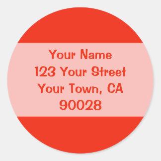 orange address labels classic round sticker