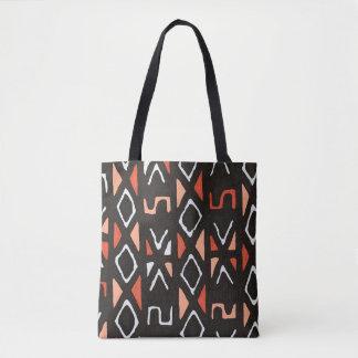 Orange African Mudcloth Contemporary Tribal Print Tote Bag