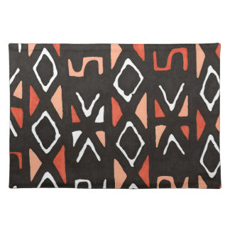 Orange African Mudcloth Print Cloth Place Mat